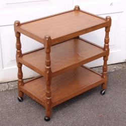 Sid Pollard 3 Tier Oak Serving Trolley