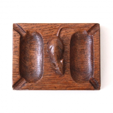 Robert Thompson 'Mouseman' Oak Vintage Double Ashtray