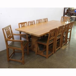 "Wilf 'Squirrelman' Hutchinson 7'6"" Dining Table and 10 Chairs"