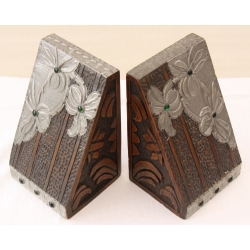 Arts & Crafts Pair of Oak & Pewter Bookends