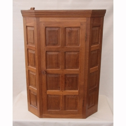 Colin Almack 'Beaverman' Oak Corner Hung Panelled Cupboard
