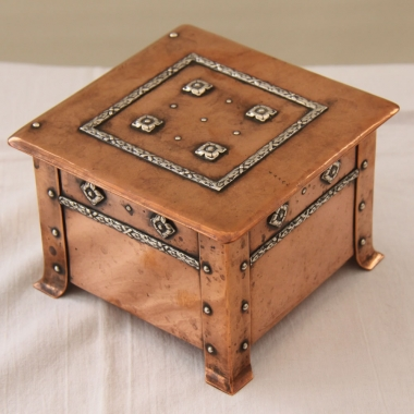 A.E Jones Copper, Bronze & Silver Arts & Crafts Trinket Box
