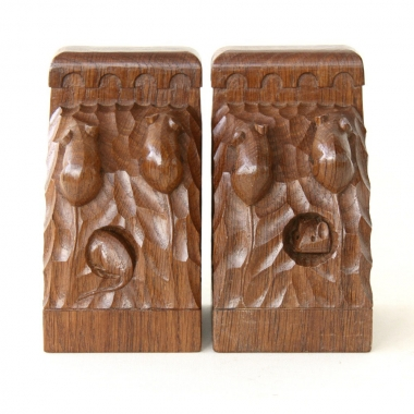 Robert Thompson 'Mouseman' Oak Pair of Triple Mice Bookends