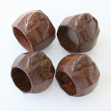 Robert Thompson 'Mouseman' 4 x Oak Early Napkin Rings