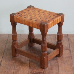 Robert 'Mouseman' Thompson Woven Leather Stool