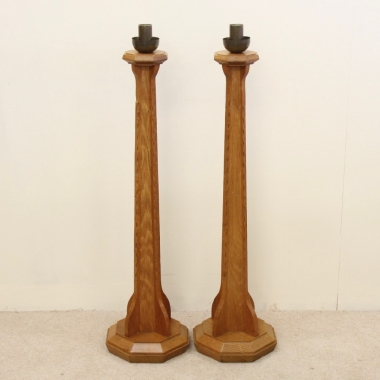 Manner of Stanley Webb Davies 'Cotswold School' Bespoke Pair of Large Oak Candlesticks