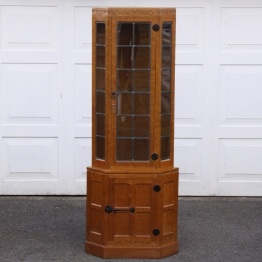 Robert Mouseman Thompson Oak Glazed Corner Display Cabinet