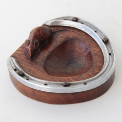 Robert Thompson 'Mouseman' Oak Horseshoe Pin Dish / Ashtray