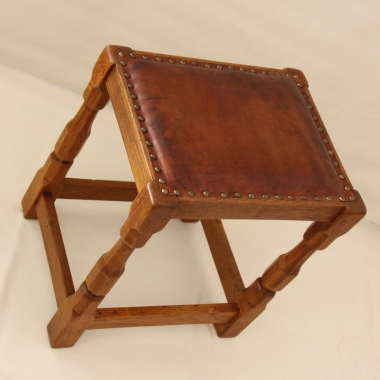 Sid Pollard Oak Leather Topped Stool