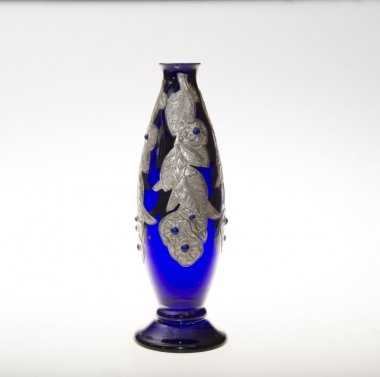 Continental Glass & Pewter Vase.