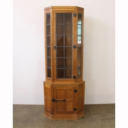 Malcolm 'Foxman' Pipes Glazed Oak Corner Display Cabinet