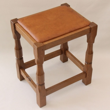 Colin 'Beaverman' Almack, Oak and Leather Seated Stool