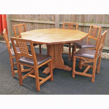 Derek Slater 'Fishman' Oak Dining Table and 6 Chairs