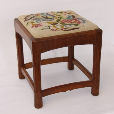 James C Dent Oak Stool, Stanley Webb Davies Craftsman