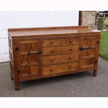 Robert Thompson 'Mouseman' Early Burr Oak Sideboard