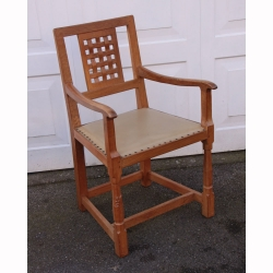 Wilf Hutchinson 'Squirrelman' Oak Lattice Backed Carver Chair
