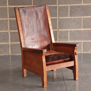 Robert Thompson 'Mouseman' Oak and Leather Smokers Chair