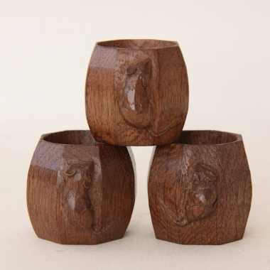 "Robert Thompson 'Mouseman' 3 x 2"" Oak Napkin Rings"