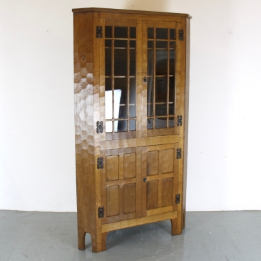 'Acornman' Alan Grainger, Glazed Oak Corner Display Cabinet