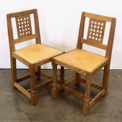 Robert 'Mouseman' Thompson Pair of Oak Lattice Back Dining Chairs
