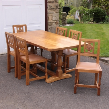 Albert 'Eagleman' Jeffray Oak Dining Table and 6 Chairs