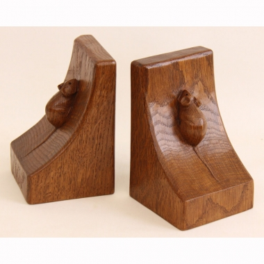 Robert 'Mouseman' Thompson, Pair of Oak Bookends