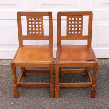 Robert Thompson 'Mouseman' Pair of Oak Dining Chairs