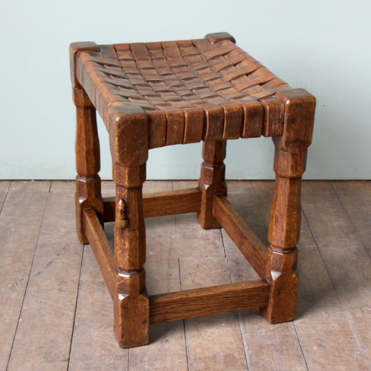 Pleasing Robert Mouseman Thompson Early Oak Leather Stool Gmtry Best Dining Table And Chair Ideas Images Gmtryco