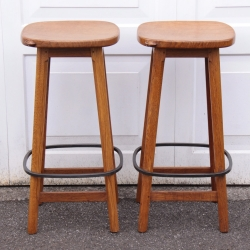 "Robert 'Mouseman' Thompson Pair of Oak 2'6"" High Bar Stools"