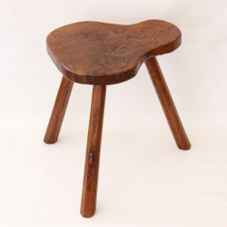 "Robert Thompson 'Mouseman' Rare Early Burr Oak 18"" Milking Stool"