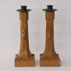 Robert 'Mouseman' Thompson Oak Pair of Candlesticks