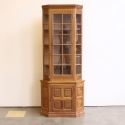 Colin 'Beaverman' Almack  Standing Glazed Oak Corner Display Cupboard