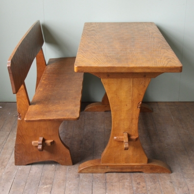 Thomas 'Gnomeman' Whittaker Oak Table & Bench