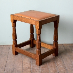Robert 'Mouseman' Thompson Oak/Leather Dressing Table Stool