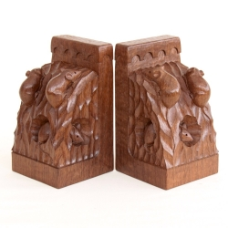 Robert 'Mouseman' Thompson Pair of Oak Triple Mice Bookends