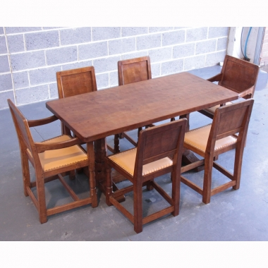 Robert Thompson 'Mouseman' Oak Early Dining Table & 6 Chairs