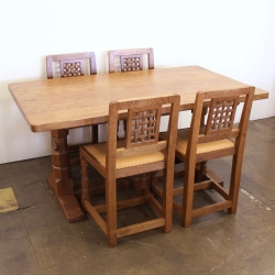 Robert 'Mouseman' Thompson 5' Dining Table and 4 or 6 Chairs