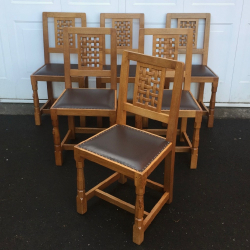 Robert Thompson 'Mouseman', Set of 6 High Lattice Back Dining Chairs
