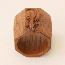 Martin Dutton 'Lizardman' Oak Napkin Ring
