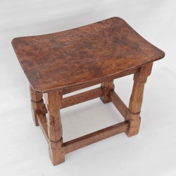 Robert Thompson 'Mouseman' Burr Oak Dished Top Stool