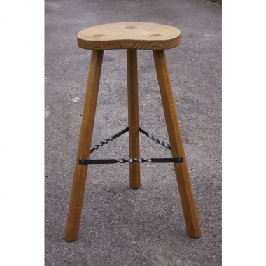 Albert 'Eagleman' Jeffray, 3 Legged Oak High Bar Stool
