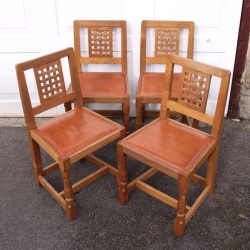 Robert 'Mouseman' Thompson Set of 4 Oak Lattice Dining Chairs