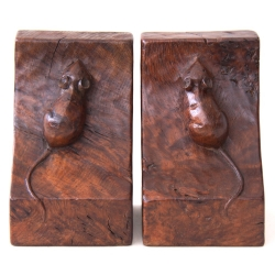 Robert Thompson 'Mouseman' Early Rare Pair of Burr Oak Bookends