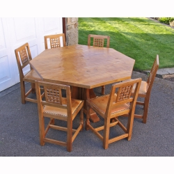 "Albert Jeffray 'Eagleman' 4'6"" Oak Octagonal Dining Set & 6 Chairs"