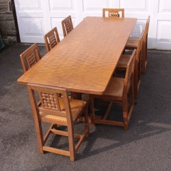 Robert 'Mouseman' Thompson 8' Dining Table and 8 Chairs