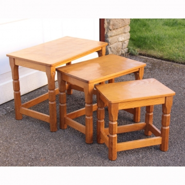 Malcolm Pipes 'Foxman' Oak Nest of 3 Tables