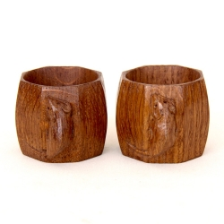 "Robert 'Mouseman' Thompson Pair of 2"" Napkin Rings"