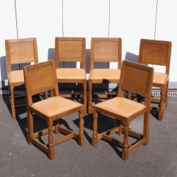 'Mouseman' Robert Thompson, Set of 6 Dining Chairs