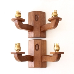 Alan 'Acornman' Grainger Pair of Oak Double Wall Lights