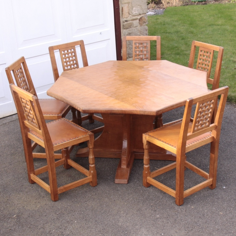 Sid Pollard Octagonal Oak Dining Table And 6 Chairs